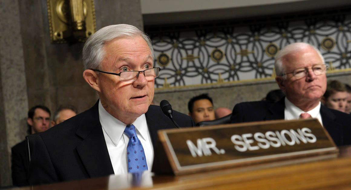 Sen. Jeff Sessions, R-Ala., asks a question of former Nebraska Sen. Chuck Hagel, President Barack Obama's choice for defense secretary, on Capitol Hill in Washington, Thursday, Jan. 31, 2013, during the Senate Armed Services Committee hearing on his nomination. Sen. Saxby Chambliss, R-Ga., sits at right. (AP Photo/Susan Walsh)