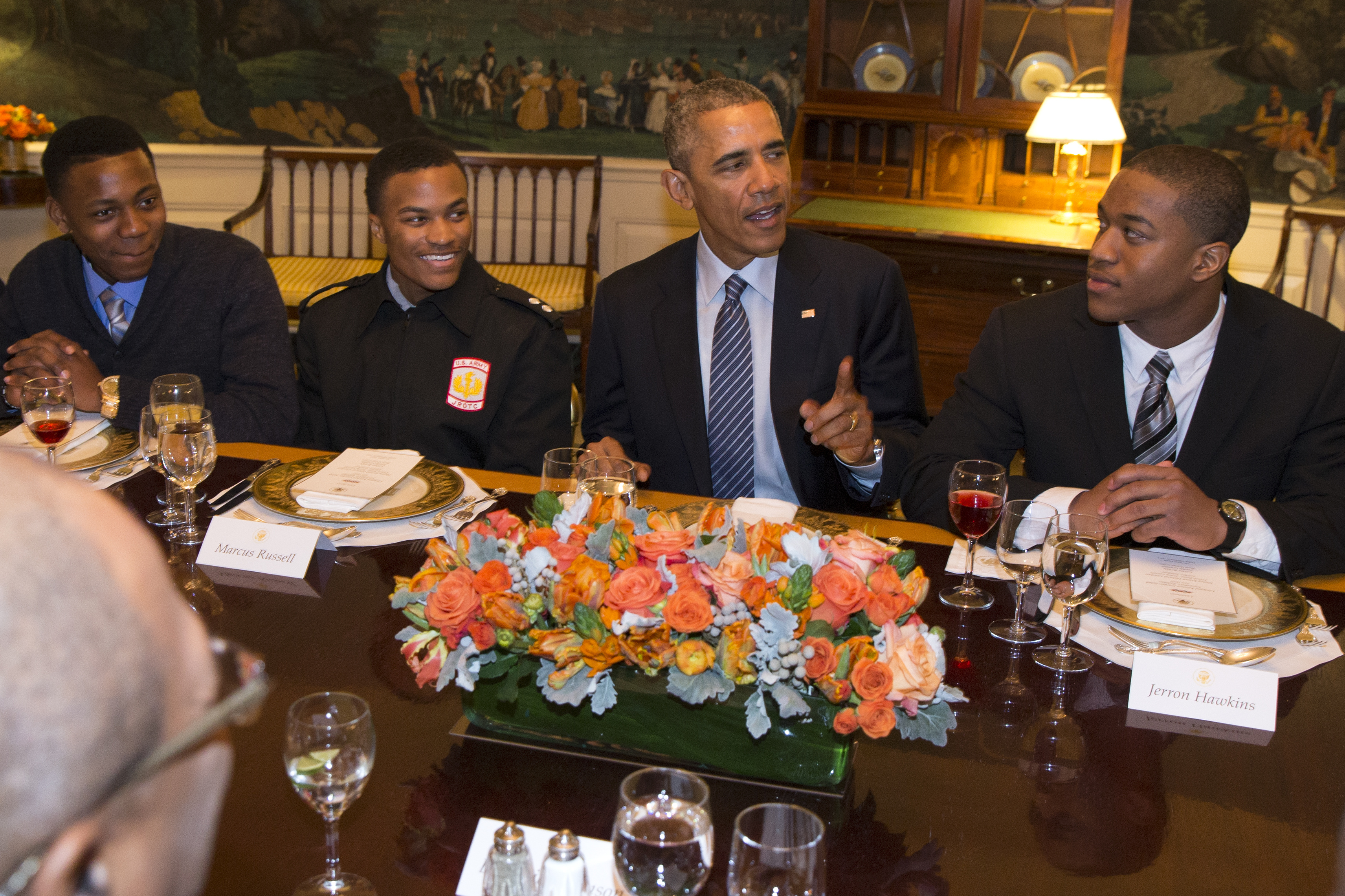 """President Barack Obama hosts a lunch with """"My Brother's Keeper"""" mentees in the Map Room of the White House in Washington, Friday, Feb. 27, 2015. (AP Photo/Evan Vucci)"""