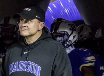 James Madison Coach Mike Houston. (Daniel Lin/Daily News-Record via Associated Press)