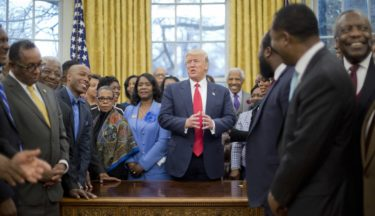 President Donald Trump speaks as he meets with leaders of Historically Black Colleges and Universities (HBCU) in the Oval Office of the White House in Washington, Monday, Feb. 27, 2017. (AP Photo/Pablo Martinez Monsivais)