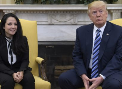 President Donald Trump meets with Aya Hijazi, an Egyptian-American aid worker, in the Oval office of the White House in Washington, Friday, April 21, 2017. Hijazi, an Egyptian-American charity worker was freed after nearly three years of detention in Egypt returning to the U.S., Thursday, April 20, 2017. (AP Photo/Susan Walsh)