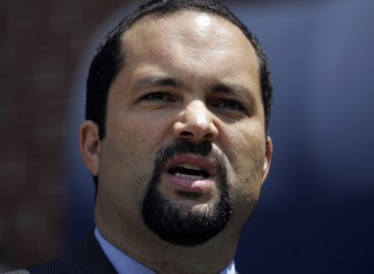 Ben Jealous, the newly elected president of the NAACP, makes remarks outside the NAACP headquarters in Baltimore, Saturday, May 17, 2008. Jealous, a 35-year-old former news executive and lifelong activist, is the youngest president in the NAACP's 99-year history. (AP Photo/Lawrence Jackson)