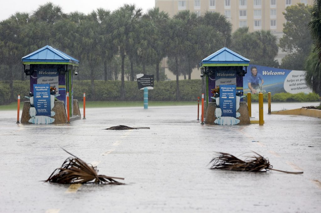 The entrance to the Sea World of Orlando is closed because of Hurricane Irma, Sunday, Sept. 10, 2017, in Orlando, Fla. Other tourists attractions including Universal Studios and Disney World were also closed and planned to reopen Tuesday. (AP Photo/John Raoux)