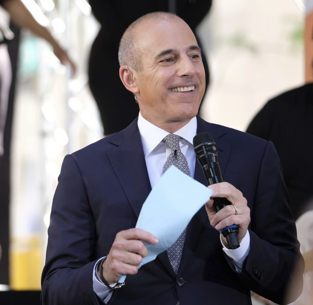 "Matt Lauer appears on NBC's ""Today"" show at Rockefeller Plaza on Friday, May 19, 2017, in New York. (Photo by Charles Sykes/Invision/AP)"