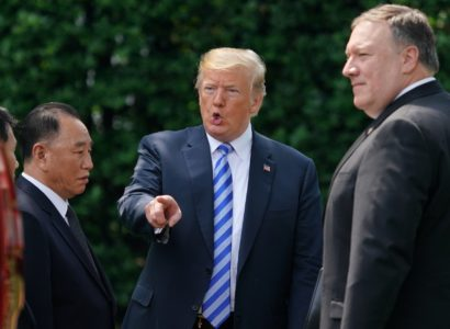 President Donald Trump talks with Kim Yong Chol, left, former North Korean military intelligence chief and one of leader Kim Jong Un's closest aides, after their meeting in the Oval Office of the White House in Washington, Friday, June 1, 2018, as Secretary of State Mike Pompeo listens at right. (AP Photo/Andrew Harnik)