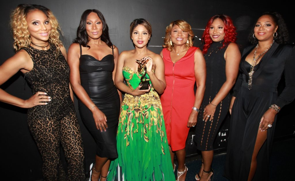 The Braxton's, left Tamar Braxton, Towanda Braxton, Toni Braxton, Evelyn Braxton, Traci Braxton and Trina Braxton attend the 13th Annual McDonald's 365 Black Awards at the Ernest Moral Convention Friday, July 1,2016 in New Orleans, LA. (Photo by Donald Traill/Invision/AP)