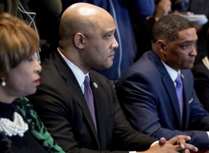 From left, Rep. Brenda Lawrence, D-Mich., Rep. Andre Carson, D-Ind., Congressional Black Caucus Chairman Rep. Cedric Richmond, D-La., Rep. Karen Bass, D-Calif., and other members of the Congressional Black Caucus meet with President Donald Trump in the Cabinet Room of the White House in Washington, Wednesday, March 22, 2017. (AP Photo/Andrew Harnik)