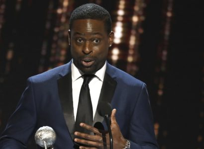 """Sterling K. Brown accepts the award for outstanding actor in a drama series for """"This Is Us"""" at the 48th annual NAACP Image Awards at the Pasadena Civic Auditorium on Saturday, Feb. 11, 2017, in Pasadena, Calif. (Photo by Matt Sayles/Invision/AP)"""