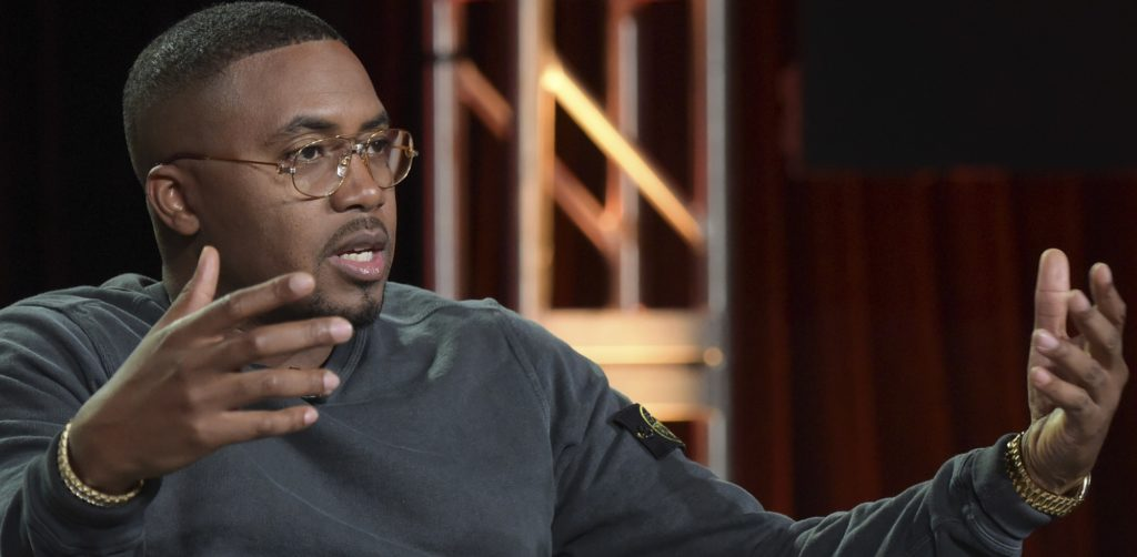 """Nas participates in the """"Nas Live from the Kennedy Center : Classical Hip-Hop"""" panel during the PBS Television Critics Association Winter Press Tour on Tuesday, Jan. 16, 2018, in Pasadena, Calif. (Photo by Richard Shotwell/Invision/AP)"""