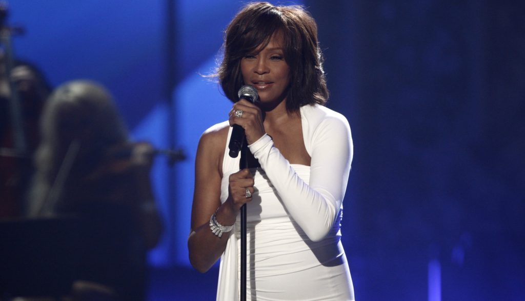 Whitney Houston performs at the 37th Annual American Music Awards on Sunday, Nov. 22, 2009, in Los Angeles. (AP Photo/Matt Sayles)