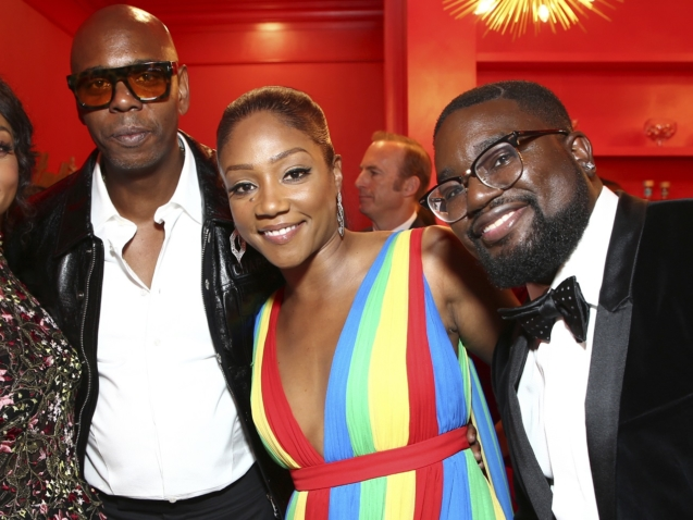 IMAGE DISTRIBUTED FOR THE TELEVISION ACADEMY - EXCLUSIVE - Taraji P. Henson, from left, Dave Chappelle, Tiffany Haddish, and Lil Rel Howery pose in the Lindt Chocolate Lounge at the 70th Primetime Emmy Awards on Monday, Sept. 17, 2018, at the Microsoft Theater in Los Angeles. (Photo by John Salangsang/Invision for the Television Academy/AP Images)