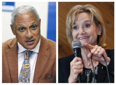 "This combination photo shows Mike Espy, left, a former congressman and former U.S. agriculture secretary, on Oct. 5, 2018, and U.S. Sen. Cindy Hyde-Smith, R-Miss., on Nov. 5, 2018, both in Jackson, Miss. The last U.S. Senate race of the midterms was coming to a close Tuesday, Nov. 27, 2018, as Mississippi residents chose between Hyde-Smith, a white Republican Senate appointee whose ""public hanging"" comments angered many people, and Espy, a black Democrat who was agriculture secretary when Bill Clinton was in the White House. (AP Photo/Rogelio V. Solis, File)"