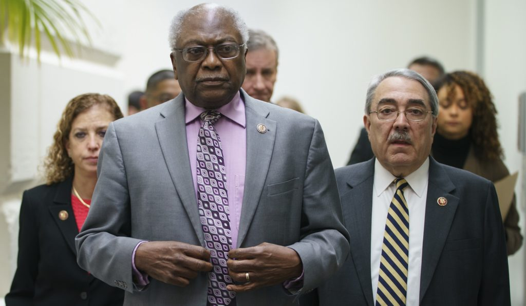 House Majority Whip James Clyburn, D-S.C., center, joined by Rep. Debbie Wasserman Schultz, D-Fla., left, and Rep. G.K. Butterfield, D-N.C., right, arrive to speak at a news conference on Capitol Hill in Washington, Thursday, Jan. 17, 2019, following weekly Whip meeting. (AP Photo/Carolyn Kaster)