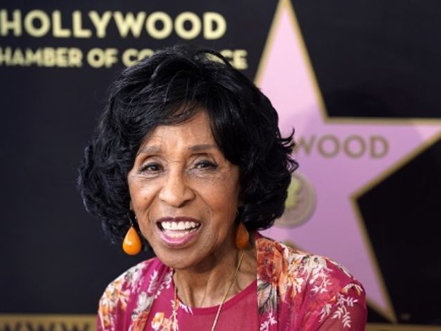 Actress Marla Gibbs poses at a Hollywood Walk of Fame ceremony for her, Tuesday, July 20, 2021, in Los Angeles. (AP Photo/Chris Pizzello)